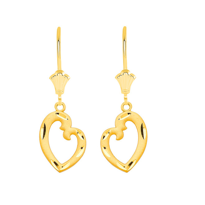 Irregular Heart  Leverback Earrings in Solid Yellow Gold