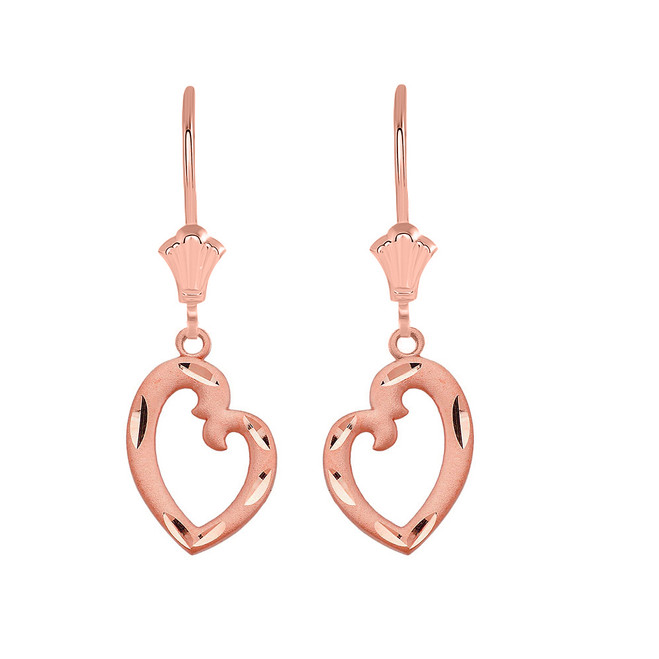 Irregular Heart  Leverback Earrings in 14K Solid Rose Gold