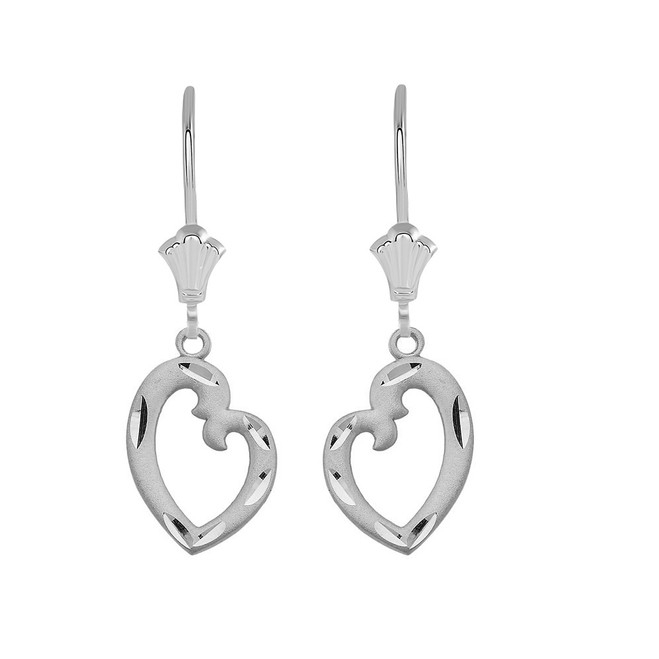 Irregular Heart  Leverback Earrings in 14K Solid White Gold