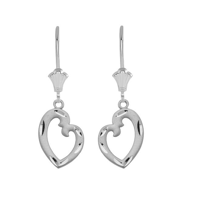 Irregular Heart  Leverback Earrings in Sterling Silver