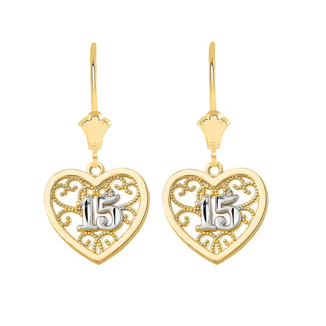 Two-Tone Filigree Heart Quinceanera Leverback Earrings in Solid Yellow Gold