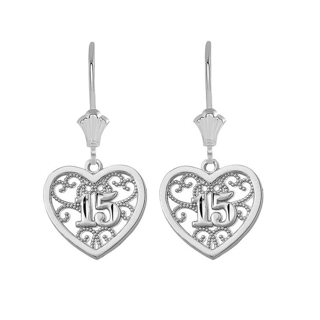 Filigree Heart Quinceanera Leverback Earrings in 14K Solid White Gold
