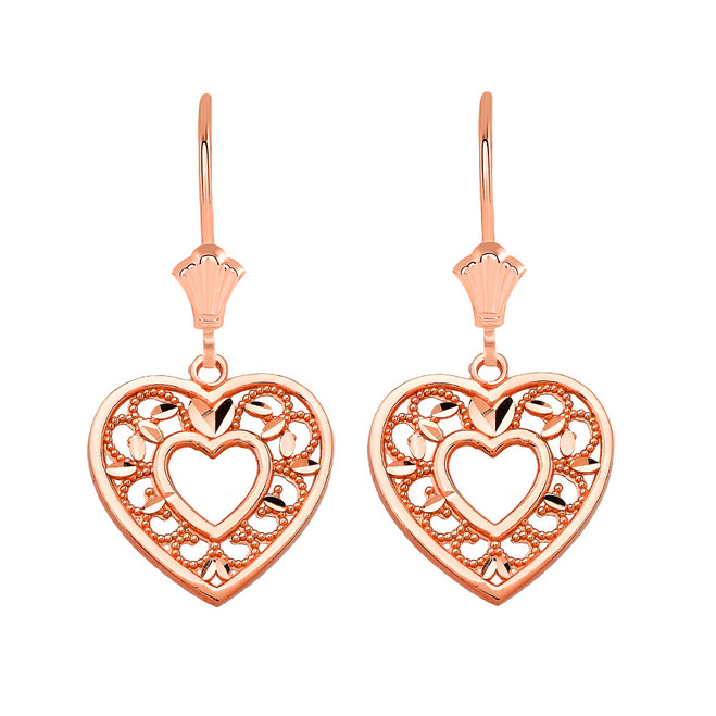 Textured Filigree Heart Leverback Earrings in 14K Solid Rose Gold
