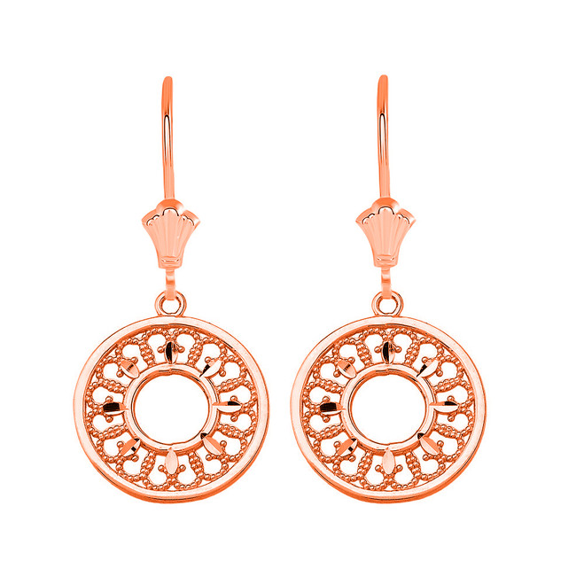 Filigree Concentric Circle Leverback Earrings in 14K Solid Rose Gold