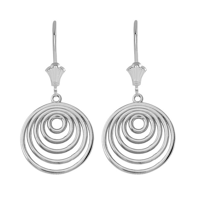 Inner Circle Leverback Earrings in 14K Solid White Gold