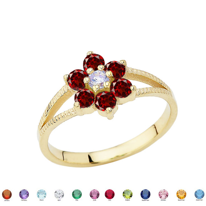 Dainty Milgrain Flower Personalized Birthstone Ring In 10K Yellow Gold