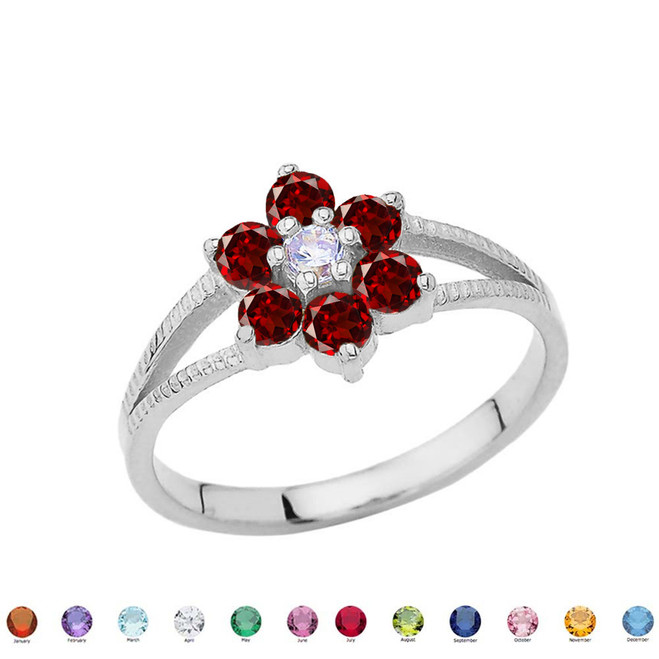 Dainty Milgrain Flower Personalized Birthstone Ring In Sterling Silver