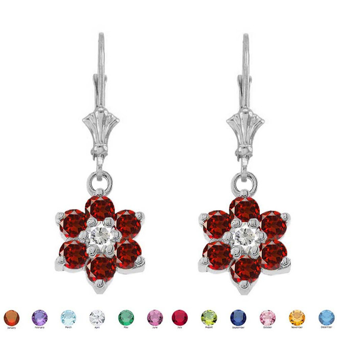 Dainty Milgrain Flower Personalized Birthstone Earring In Sterling Silver