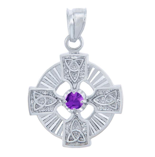 Silver Celtic Trinity Pendant with Amethyst CZ Stone