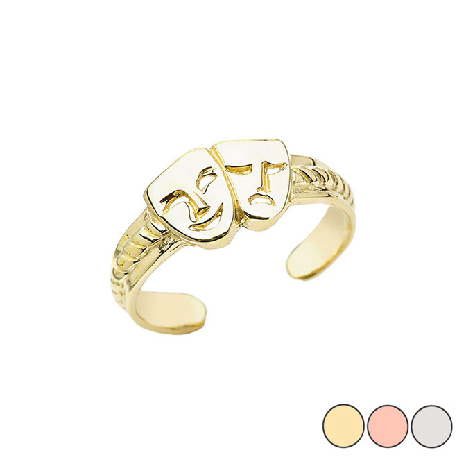 Comedy & Tragedy Masks  (SOCK & BUSKIN) Toe Ring In Gold (Yellow/Rose/White)