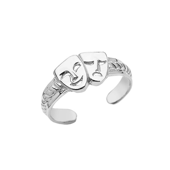 Comedy & Tragedy Masks  (SOCK & BUSKIN) Toe Ring In Sterling Silver