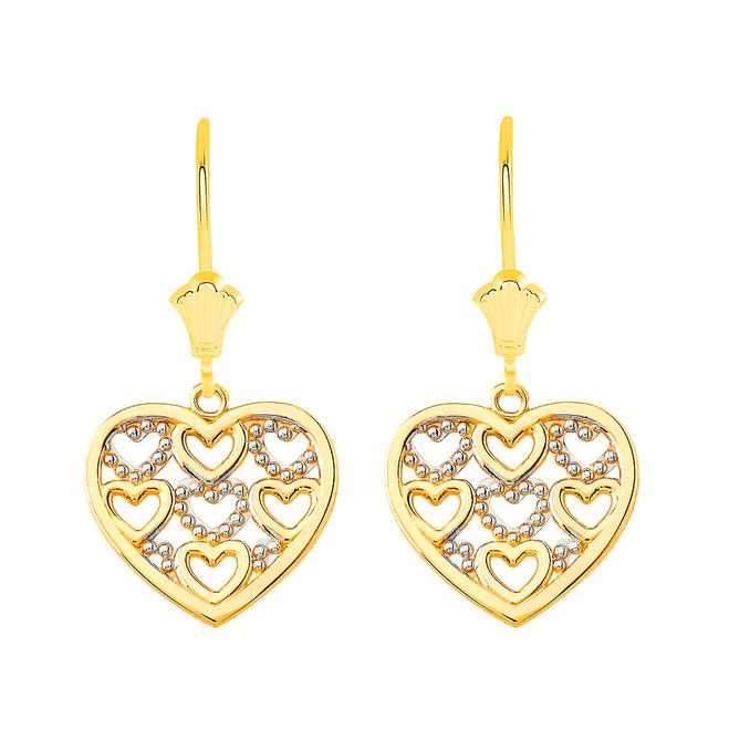 Filigree Heart Leverback Earrings in Solid Yellow Gold