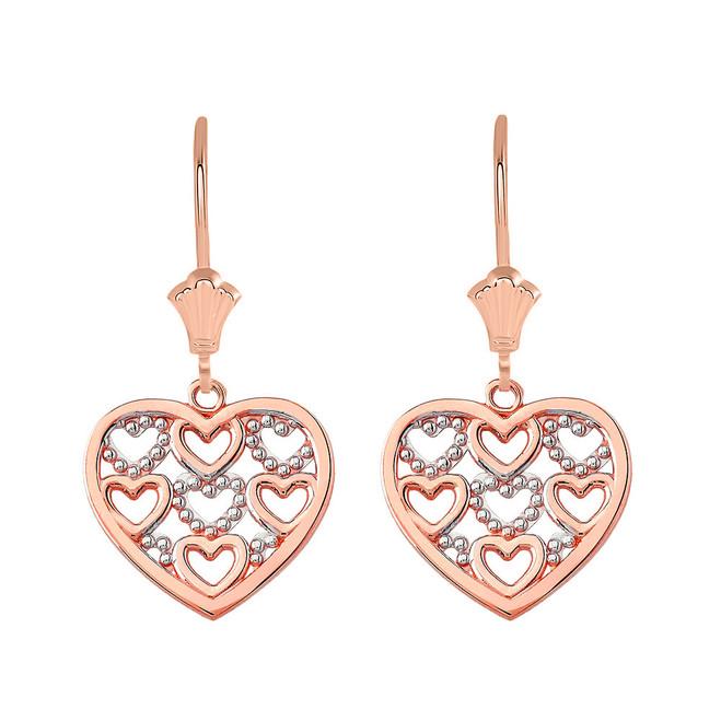 Filigree Heart Leverback Earrings in 14K Solid Rose Gold