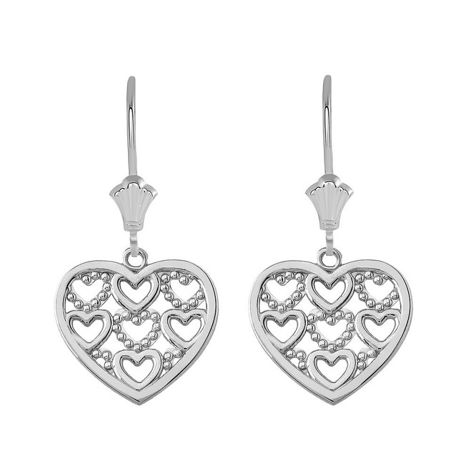 Filigree Heart Leverback Earrings in 14K Solid White Gold