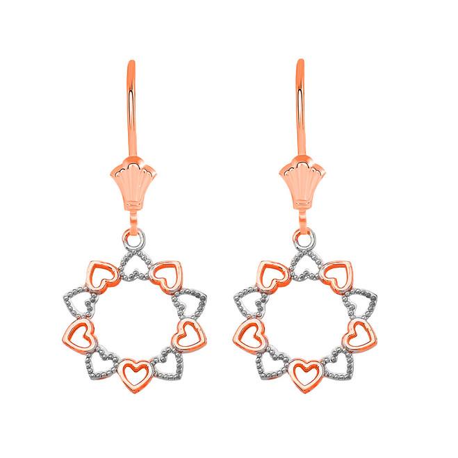 Filigree Little Hearts Leverback Earrings in 14K Solid Rose Gold
