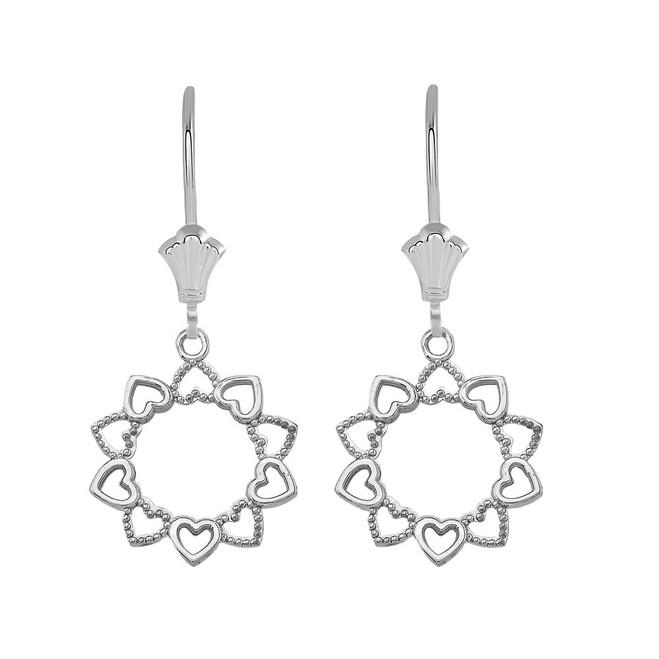 Filigree Little Hearts Leverback Earrings in Sterling Silver
