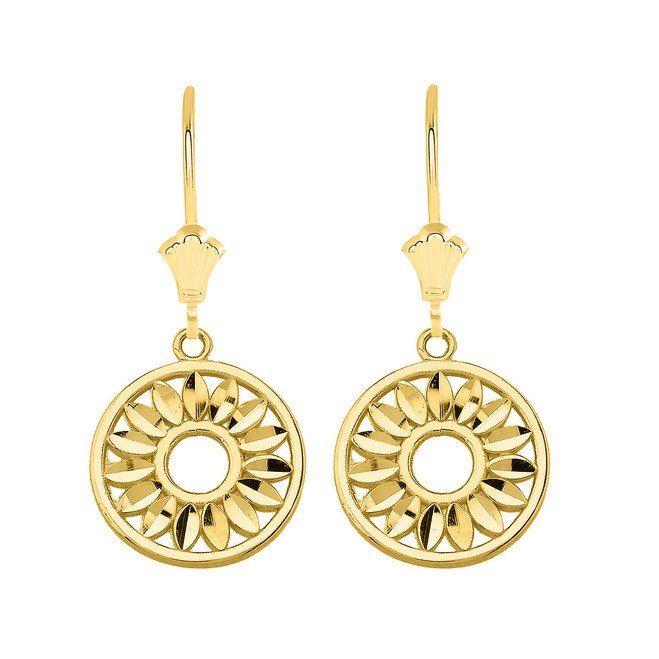 Bohemian Leaves Leverback Earrings in Solid Yellow Gold