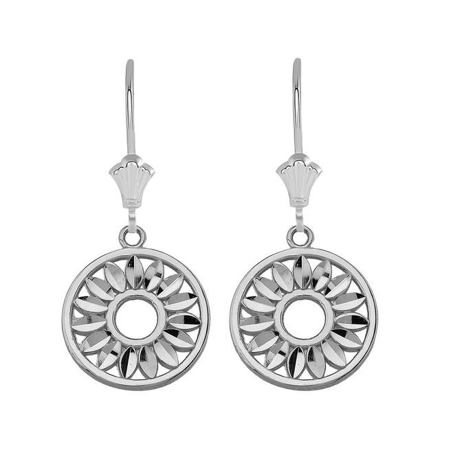 Bohemian Leaves Leverback Earrings in Sterling Silver