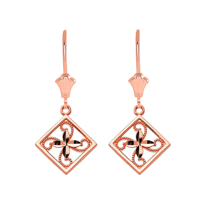 Charming Filigree Flower Leverback Earrings in 14K Solid Rose Gold