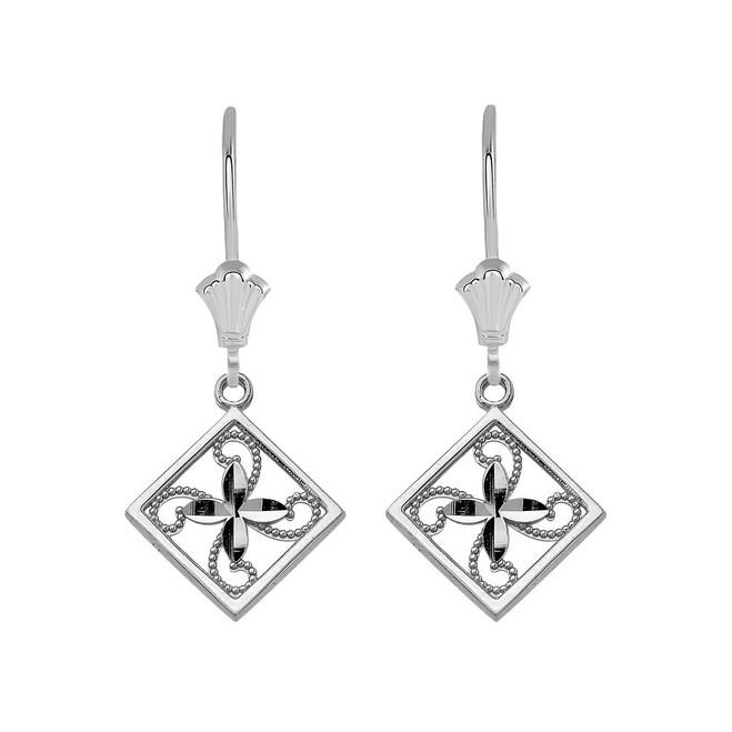 Charming Filigree Flower Leverback Earrings in Sterling Silver