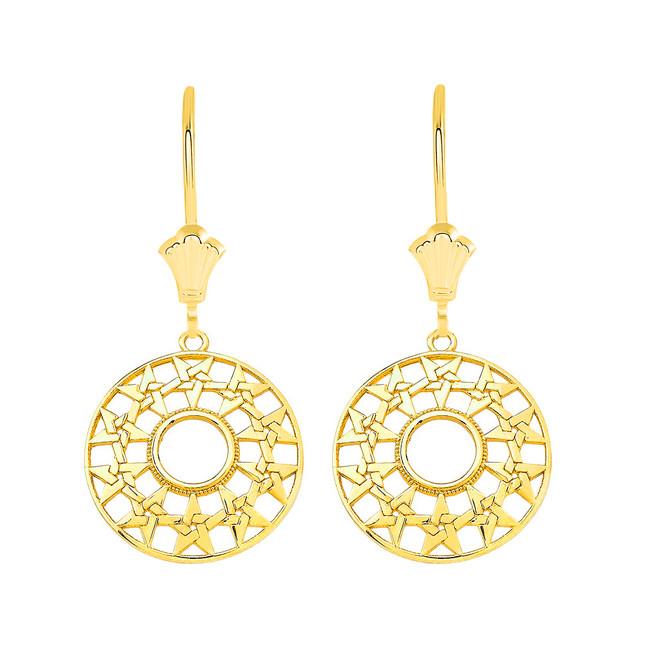 Boho Geometry Star Leverback Earrings in Solid Yellow Gold