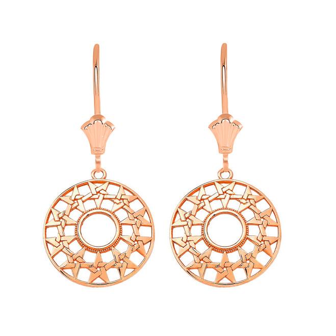 Boho Geometry Star Leverback Earrings in 14K Solid Rose Gold