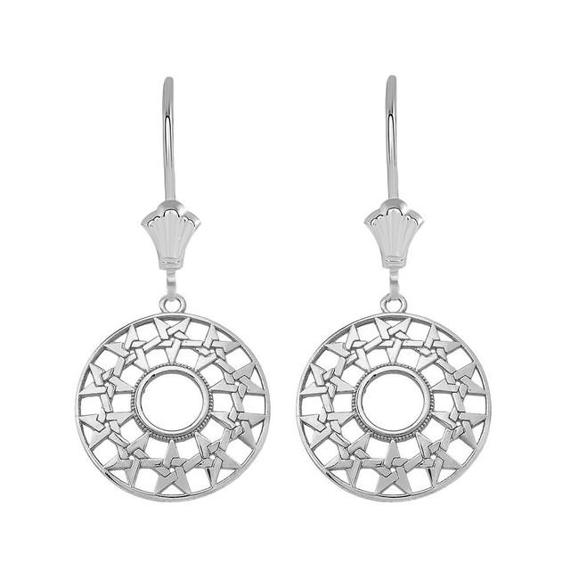 Boho Geometry Star Leverback Earrings in Sterling Silver