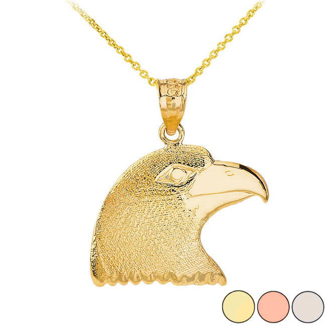 Eagle Head Pendant Necklace in Solid Gold (Yellow/ Rose/White)