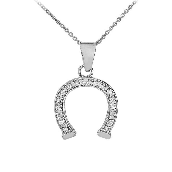 Lucky Horseshoe CZ Pendant Necklace in Sterling Silver