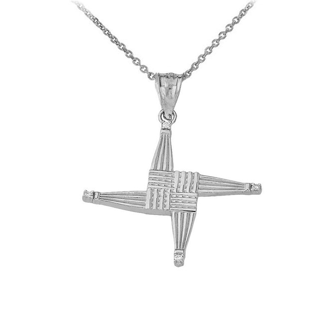 Irish St. Bridget's Christian Wall Cross CZ Pendant Necklace in Sterling Silver