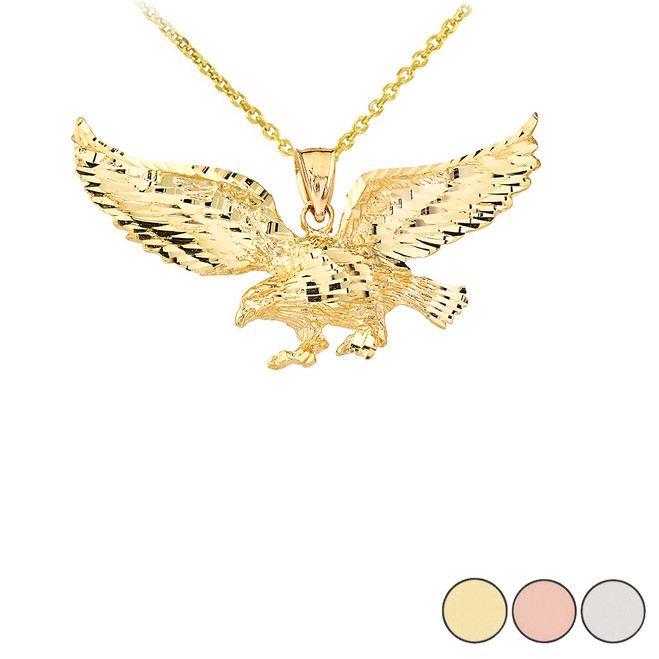 Flying Eagle Diamond Cut Pendant Necklace in Solid Gold (Yellow/Rose/White)