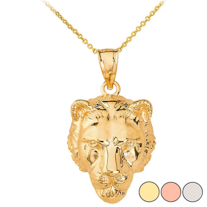 Mighty Lion's Head Pendant Necklace in Solid Gold (Yellow/Rose/White)