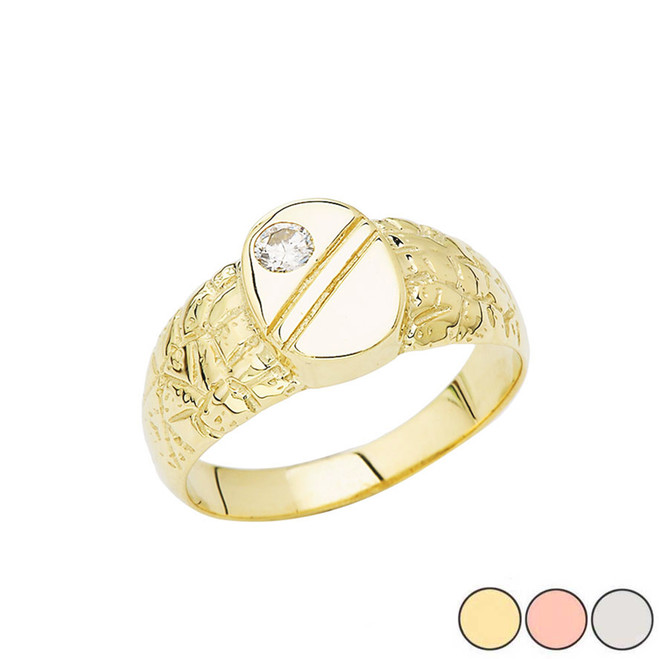 Pinky Nugget Solitaire Ring In Gold (Yellow/Rose/White)