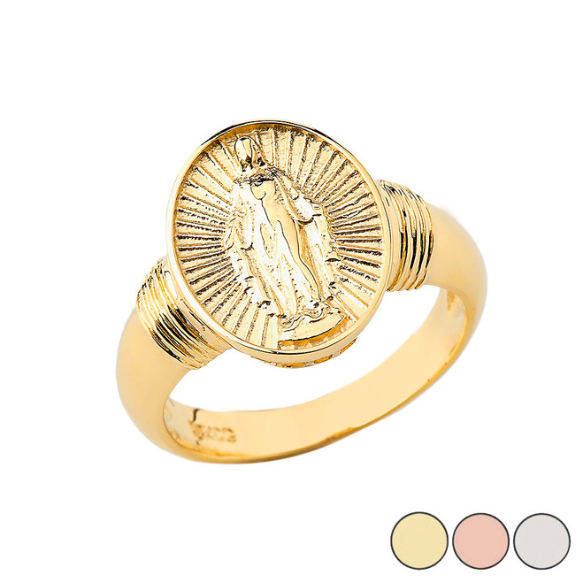 Virgin Mary Oval Ring In Solid Gold (Yellow/Rose/White)