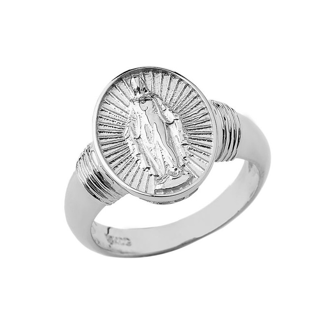 Virgin Mary Oval Ring in Sterling Silver