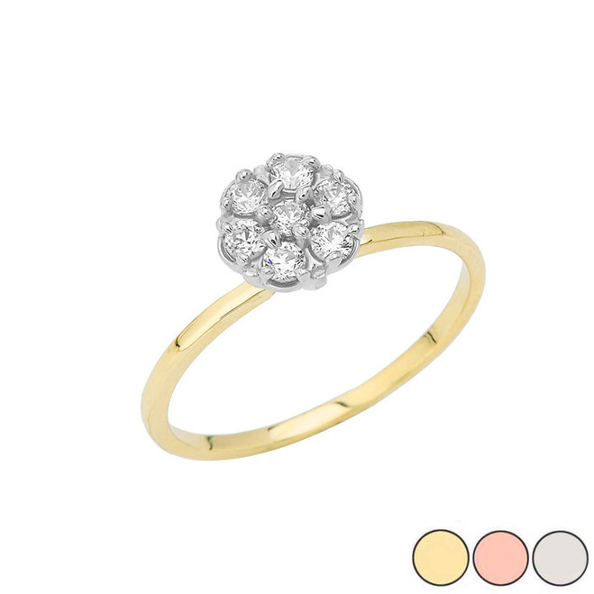 Popcorn Solitaire Ring in 10k Gold (Yellow/Rose/White)