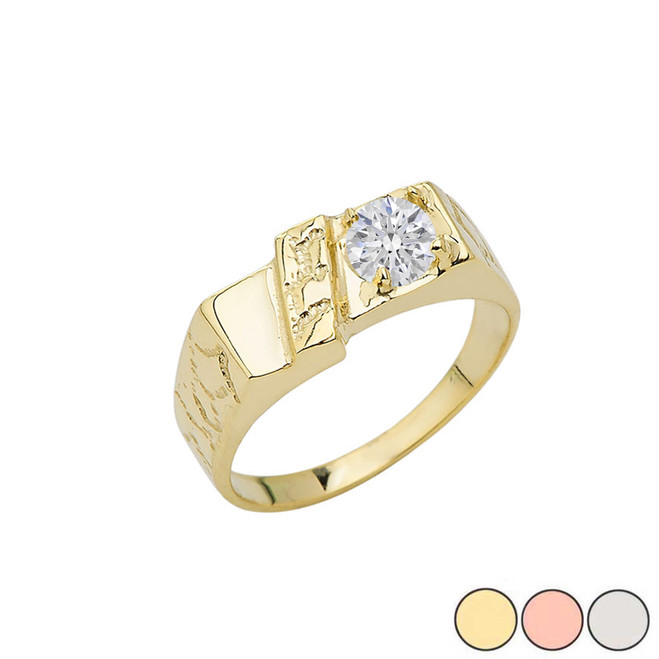 Pinky Nugget With CZ Solitaire Ring In Gold (Yellow/Rose/White)