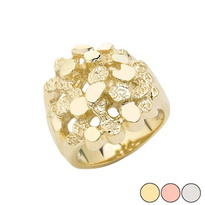 Bold Open Nugget Ring in Gold (Yellow/Rose/White)