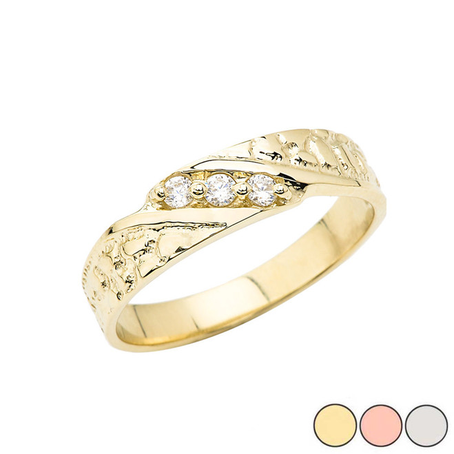 Nugget Wedding Band Ring In Gold (Yellow/Rose/White)