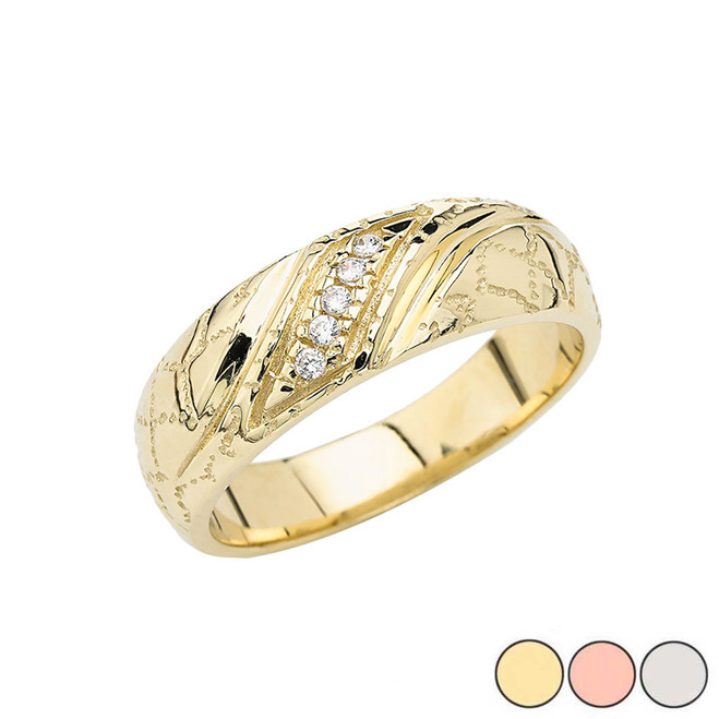 Men's Nugget Diamond Wedding Band Ring In Gold (Yellow/Rose /White)