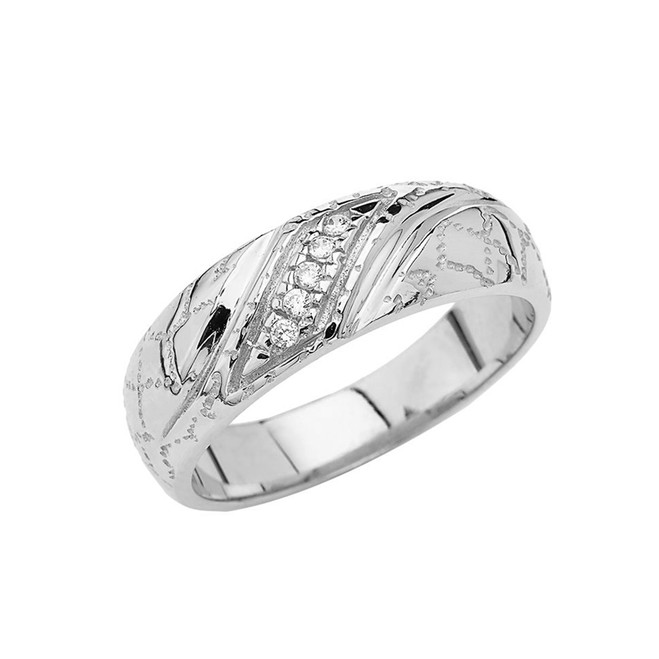 Men's Nugget Wedding Band Ring In Sterling Silver
