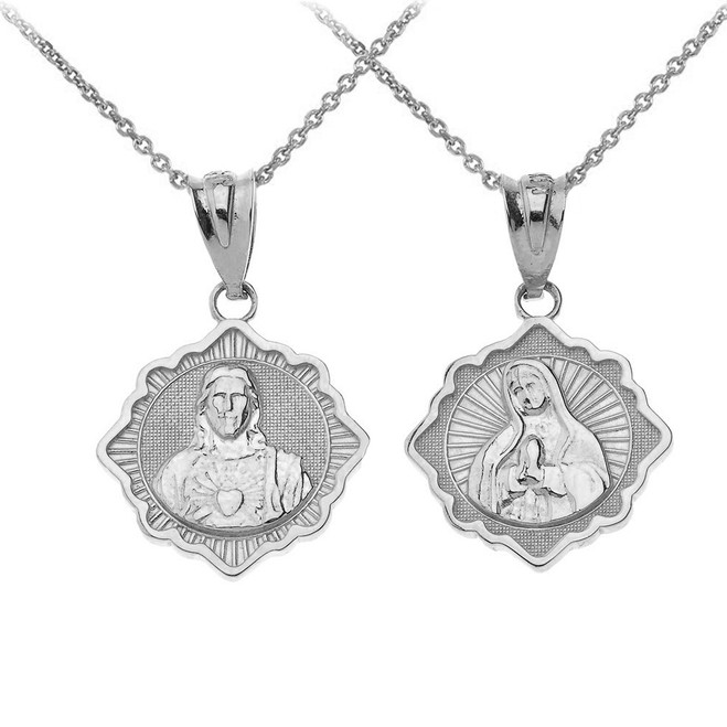 Reversible Virgin Mary and Jesus Christ Pendant Necklace in Sterling Silver