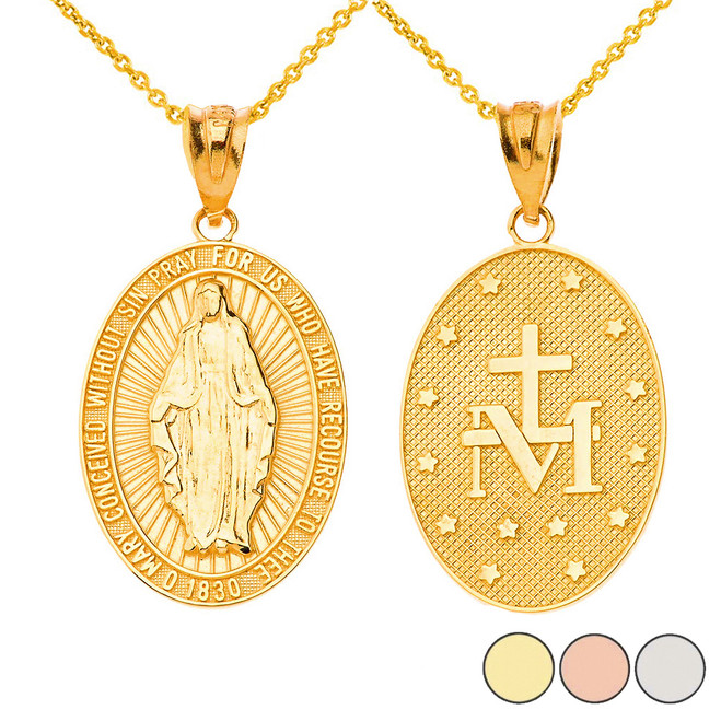 Our Lady of Graces Miraculous Medal Oval Pendant Necklace in Solid Gold (Yellow/Rose/White)