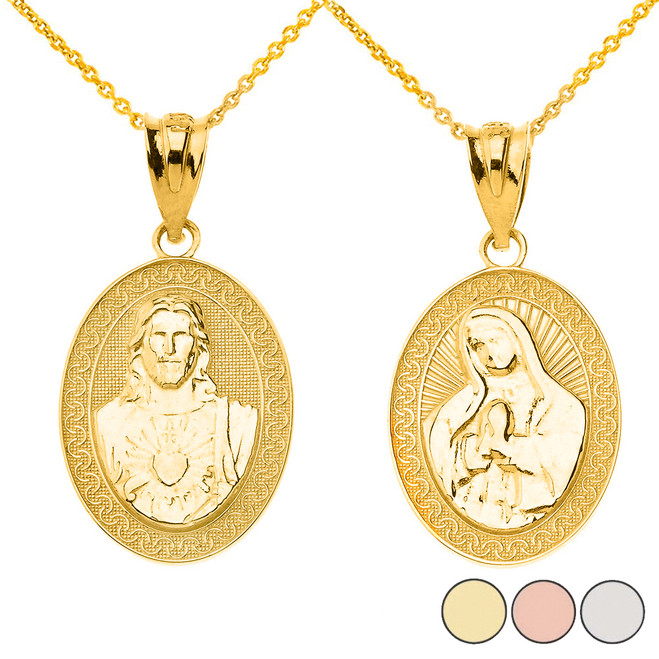 Reversible Virgin Mary and Jesus Christ Oval Pendant Necklace in Solid Gold (Yellow/Rose/White)