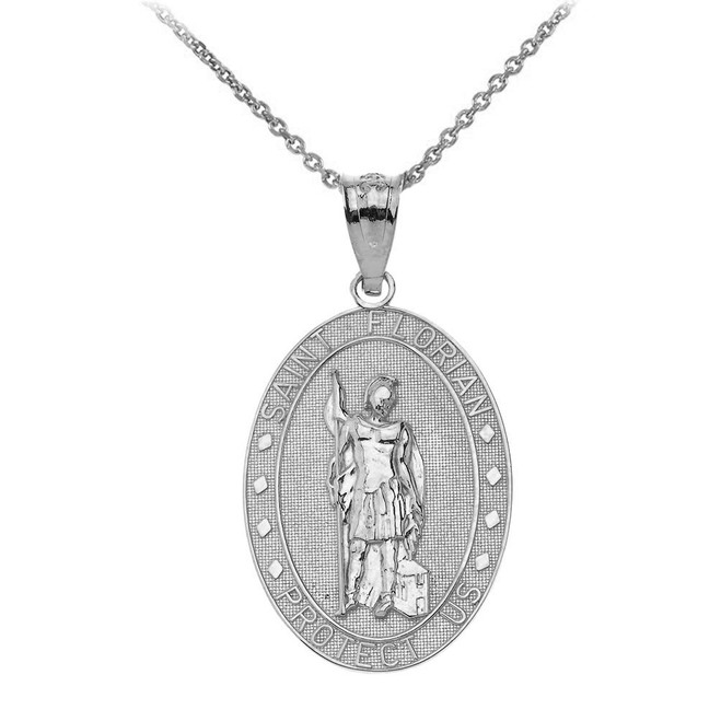 Saint Florian Oval Medallion Pendant Necklace in Sterling Silver