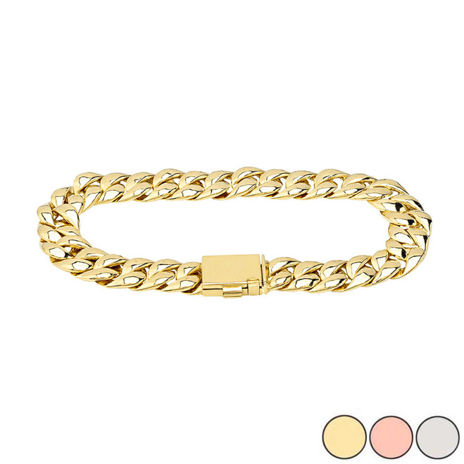 Cuban Link Bracelet 10.2mm In Gold (Yellow/Rose/White)