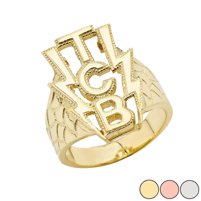 Taking Care Of Business (TCB) Men's  Ring In Gold (Yellow/Rose/White)