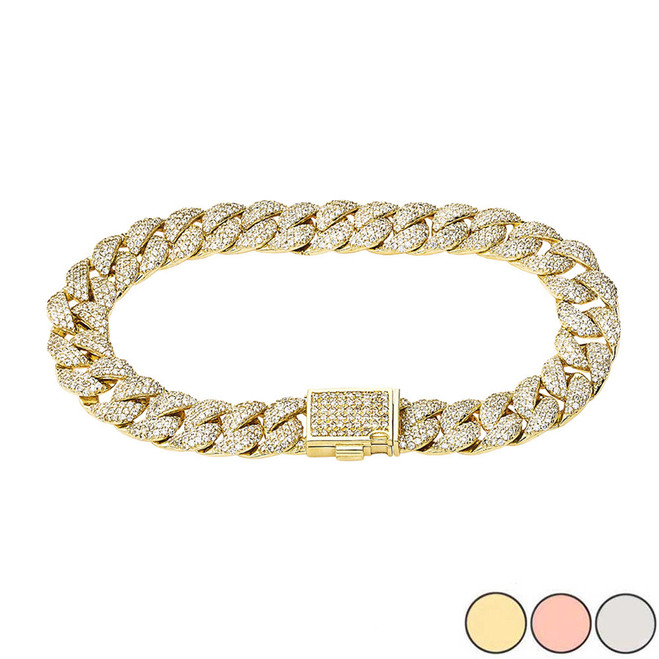 Diamond Cuban Link Bracelet 10.5mm In Gold (Yellow/Rose/White)