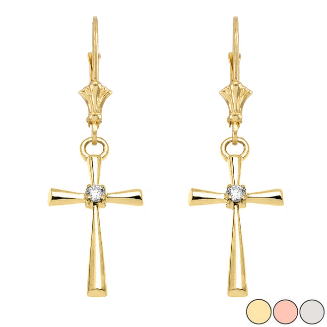 Solitaire Diamond Cross  Leverback Earring In Gold (Yellow/Rose/White)