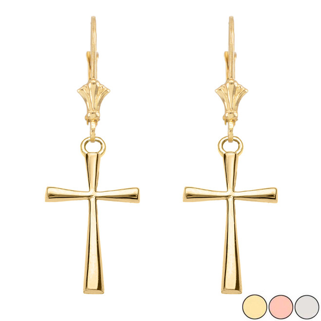 Solid Cross Leverback Earring In Gold (Yellow/Rose/White)
